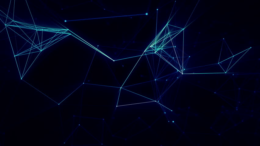 Abstract moving background. Dots and lines connecting background. Blue network loop UHD #1010137160