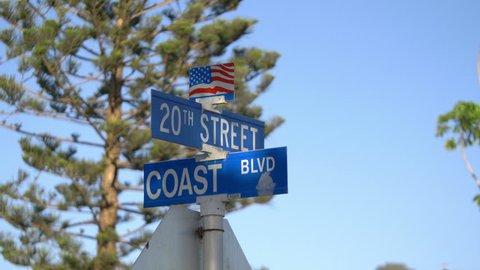 Street sign in California in 4K slow motion
