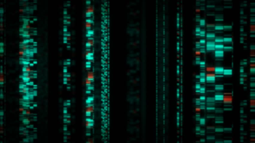 Digital DNA data graphics fly through loop. Depicting glowing random computer technology information on a black background. Useful for concept or backdrop. | Shutterstock HD Video #1010144501