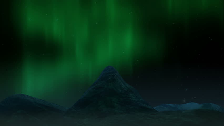 Arctic bright northern light over mountains landscape. Realistic aurora borealis digital motion animation. | Shutterstock HD Video #1010153039
