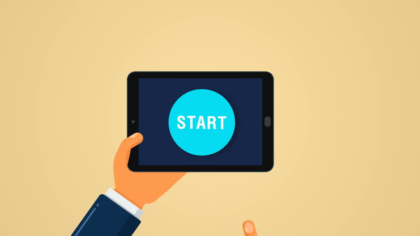 Concept intro for business startup. Hand clicks button Start on tablet and rocket launch with smoke. Template for you logo in flat style. Modern animation. 4K