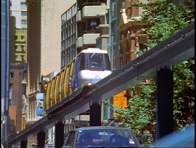 AUSTRALIA, 1999, Sydney Monorail, close up, follow past, zoom back | Shutterstock HD Video #1010168222