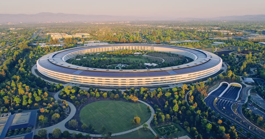 Aerial drone of Apple Campus spaceship at sunrise in Sunnyvale / Cupertino Silicon Valley, California, USA. 21 April 2018