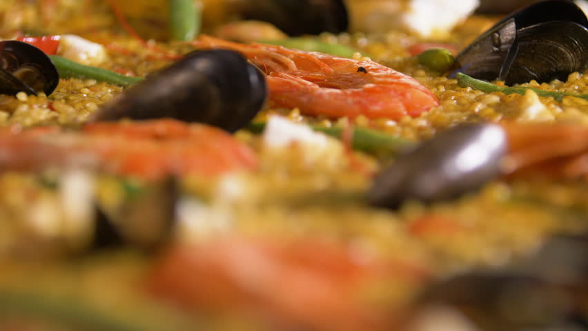 Classic Spanish paella close up.