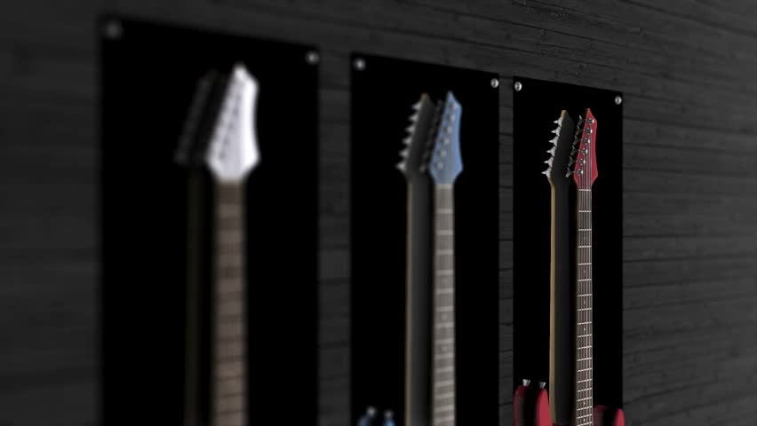 Three electric guitars hanging on a wall. Animation of three guitars hanging on the wall