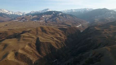 Aerial shot of the mountains near Saty village