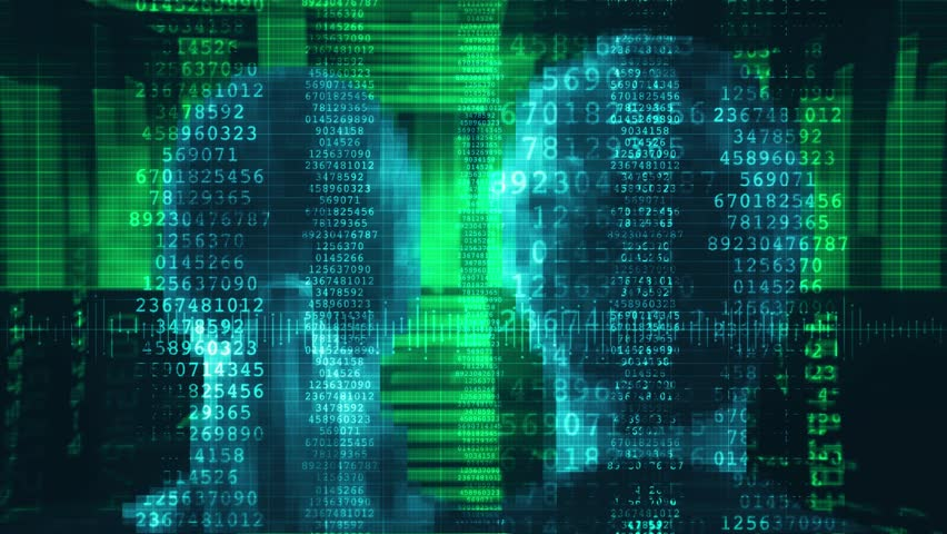 Human Data Stream. Head of man and woman inside Matrix Source Code. Shot behind model shoulders.   Shutterstock HD Video #1010203307