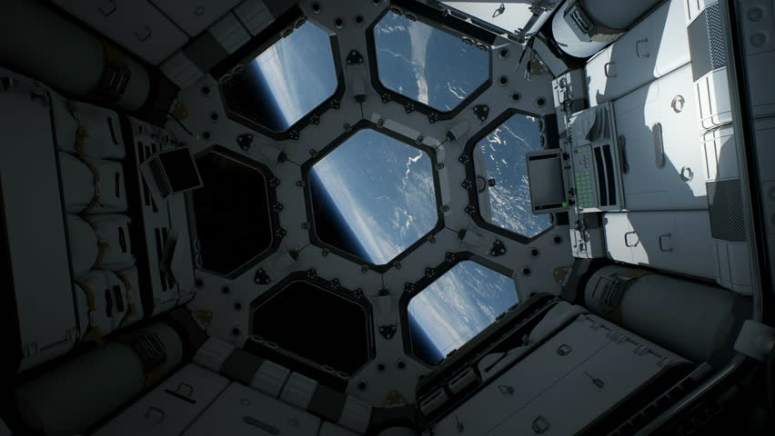 View from inside ship or space station orbiting the planet Earth. This shot features smooth camera motion. A version with handheld camera motion is also available. | Shutterstock HD Video #1010204666