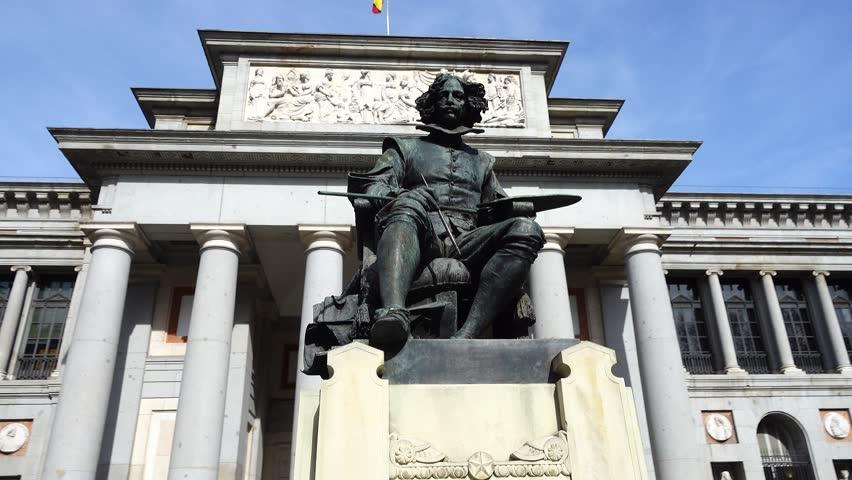 Prado Museum. The bronze statue of Diego Velazquez in Madrid, Spain | Shutterstock HD Video #1010206514