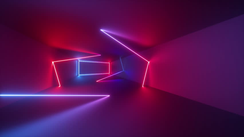 3d render, abstract geometric background, fluorescent ultraviolet light, glowing neon lines rotating inside tunnel, blue red pink purple spectrum, spinning around, modern colorful illumination #1010215979