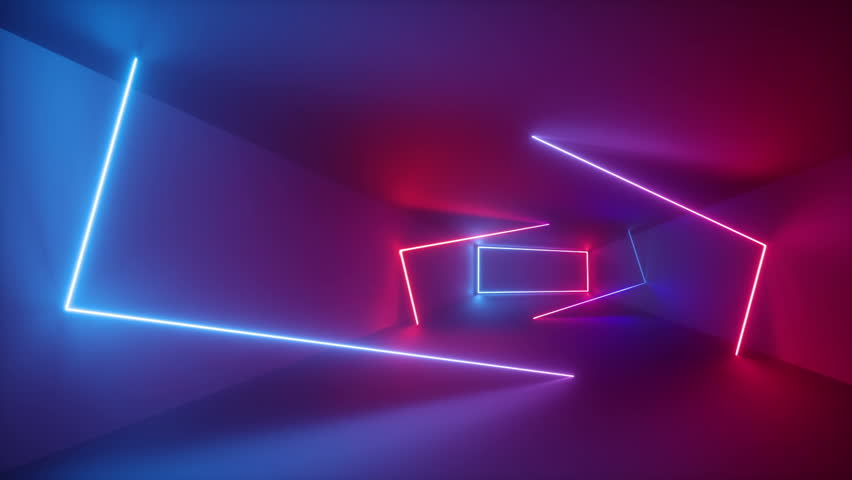 3d render, abstract background, fluorescent ultraviolet light, glowing neon lines rotating inside tunnel, blue red pink purple spectrum, rectangular frames spinning around, looped animation #1010215991