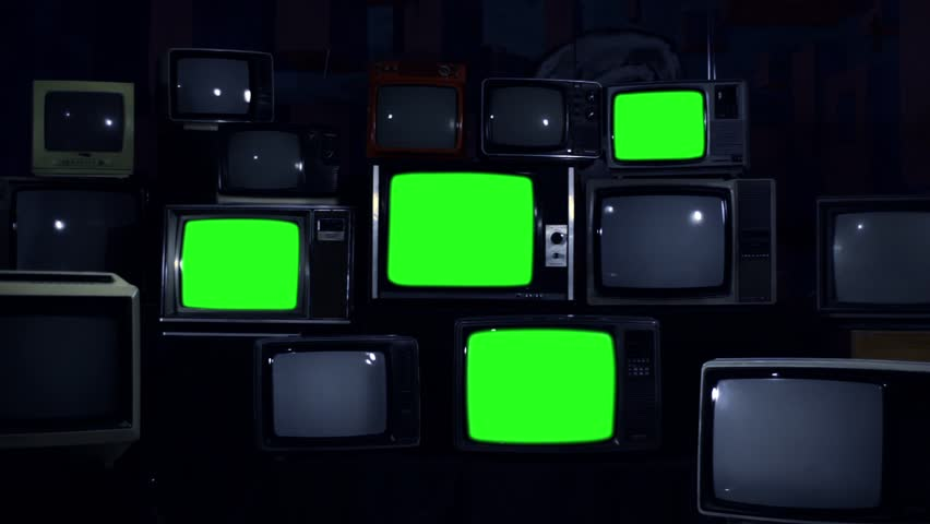 "Four Stacked 80s TVs Turning Off Green Screen. Night Tone. Zoom Out. You can replace Green Screen with any Footage or Picture you Want with ""Keying"" Effect in AE (check out tutorials on YouTube). 