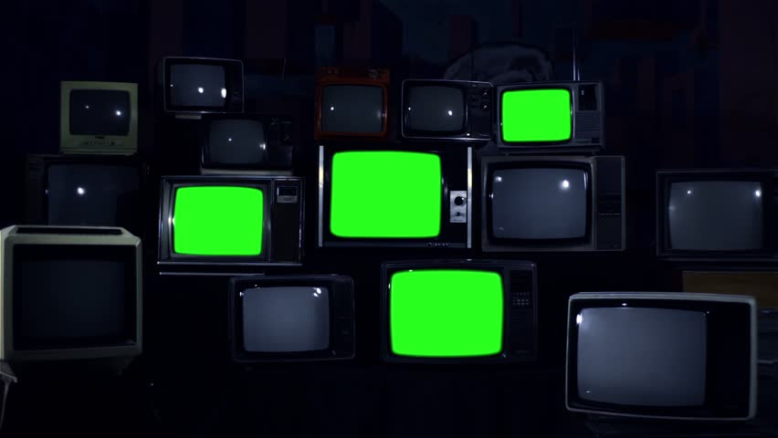 "Four Old TVs Turning on and Off Green Screens. Night Tone. You can replace Green Screens with any Footage or Picture you Want with ""Keying"" Effect in AE (check out tutorials on YouTube). 