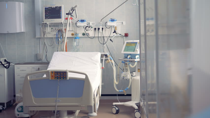 Empty intensive care room, intensive care unit.