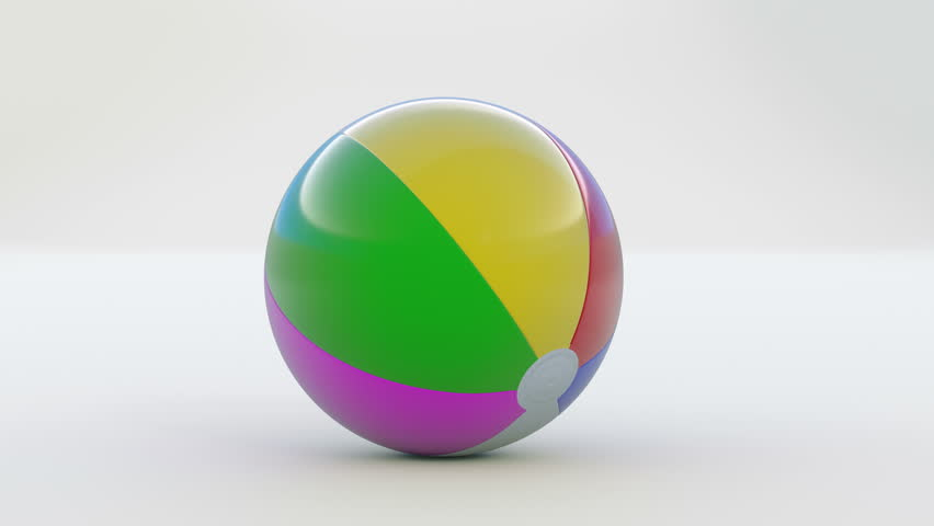 Beach ball bouncing towards camera. Animation of multicolored ball filling the screen.