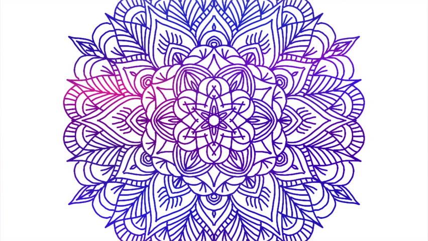 Abstract ornamental digital hand drawn mandala footage. Floral vintage tattoo decorative elements oriental islam pattern.