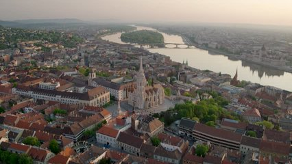 Aerial video shows the Buda side of Budapest in sunrise