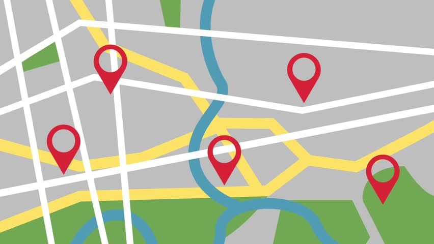 GPS city map locations HD animation #1010259233