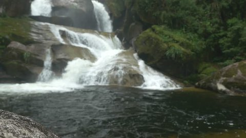 Rainforest waterfall in Black Needles National Park in Itatiaia Rio de Janeiro Brazil 4K