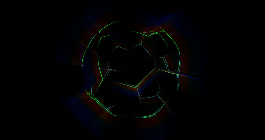 Abstract animation of soccer ball. Looped animation with alpha channel.  Animated background. Soccer Ball. Football background.