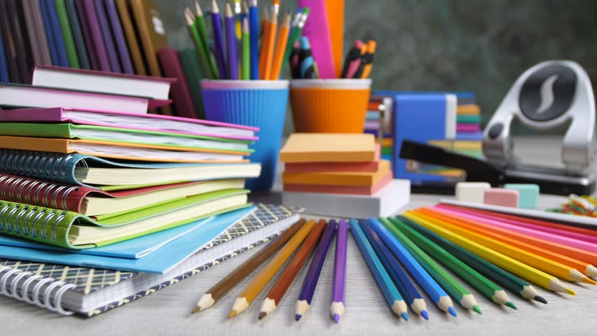 stationery. paper, notebooks, pencils and other school supplies