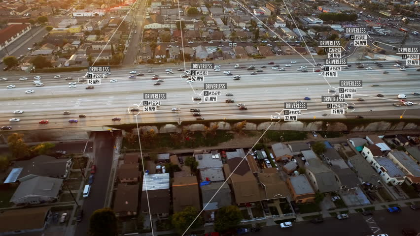 Connected driverless or autonomous car aerial view. Lore ipsum texts. Blurred and fake driver and car information displaying. Future transportation. Internet of things. Artificial intelligence. | Shutterstock HD Video #1010301506