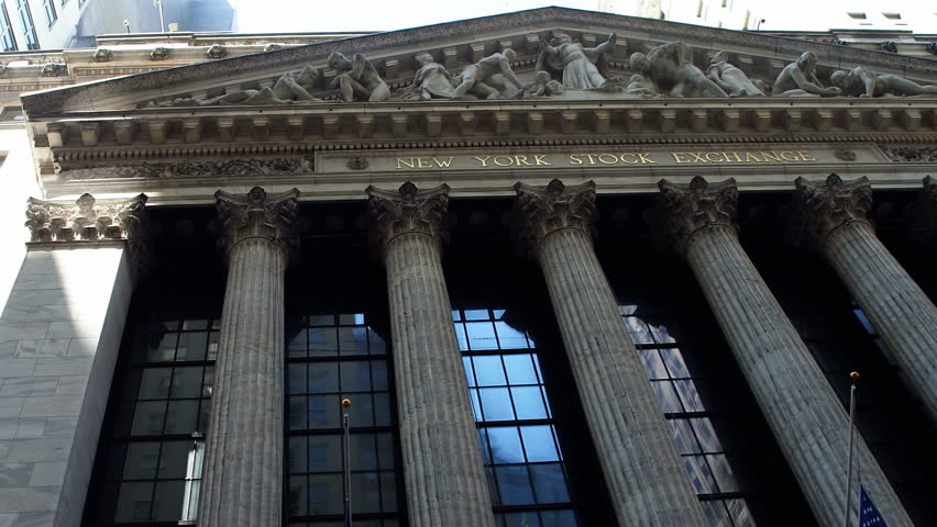 New York City, United States, Circa 2017.  New York Stock Exchange extraordinary facade. The NYSE is located at 11Wall Street in Lower Manhattan,