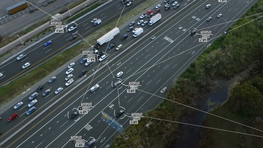 Internet of things. Self or autonomous driving. Cars connected in a network. Blurred and fake data of the cars and drivers.  Future transportation. Artificial intelligence.  | Shutterstock HD Video #1010301545
