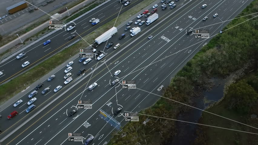 Internet of things. Self or autonomous driving. Cars connected in a network. Blurred and fake data of cars and drivers. Lore ipsum texts. Future transportation. Artificial intelligence.  | Shutterstock HD Video #1010301548