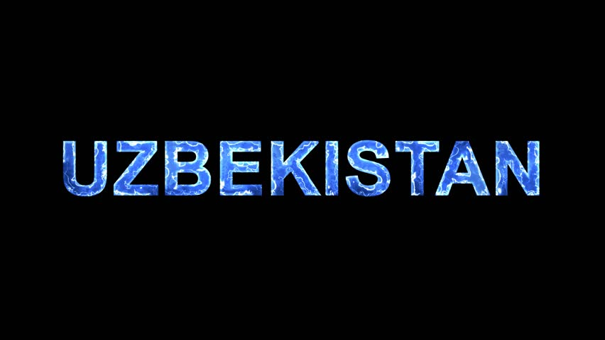 Blue lights form luminous country name UZBEKISTAN. Appear, then disappear. Electric style. Alpha channel Premultiplied - Matted with color black | Shutterstock HD Video #1010348381