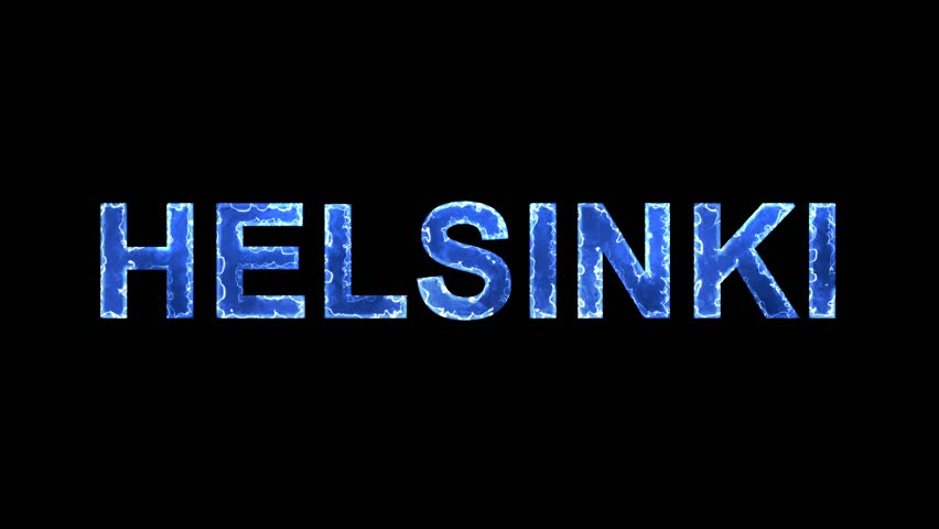 Blue lights form luminous capital name HELSINKI. Appear, then disappear. Electric style. Alpha channel Premultiplied - Matted with color black | Shutterstock HD Video #1010348456