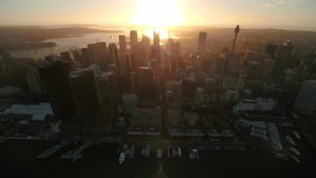 Aerial video of downtown Sydney in Australia at sunrise.