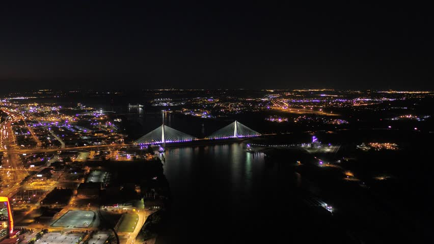 Aerial video of St Louis in Missouri on a clear night