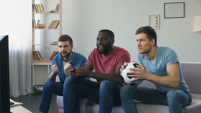 Men Watching Football, High Expectation Stock Footage Video (100 ...