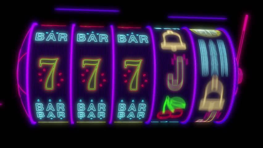 Neon slot machine hitting a 77777 jackpot. UHD - 4K - 3D Rendering