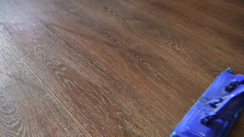 A woman washes the floor of the house with a blue mop | Shutterstock HD Video #1010443598