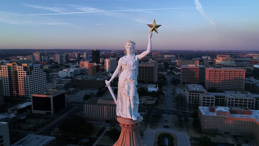 4K Aerial of Austin Texas Capitol