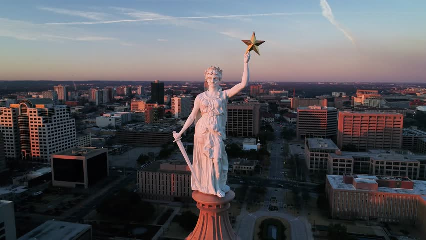 4K Aerial Texas Capitol Austin Orbiting at Sunset - Goddess of Liberty