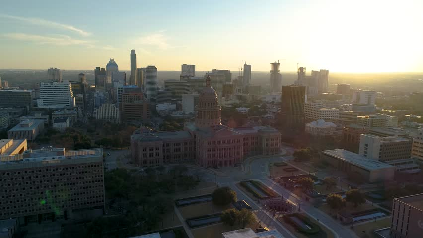 4K Texas Capitol Aerial at Sunset - Downtown Austin