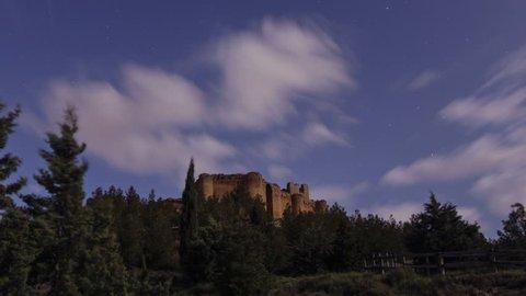 Time lapse at night at Davalillo castle, in San Asensio, La Rioja, Spain. Spanish Cultural Heritage since 1949.