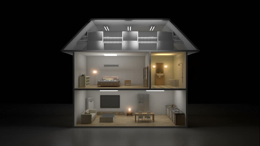 3D IoT House light on-off energy saving efficiency control, Smart home appliances,  internet of things. 4k movie.