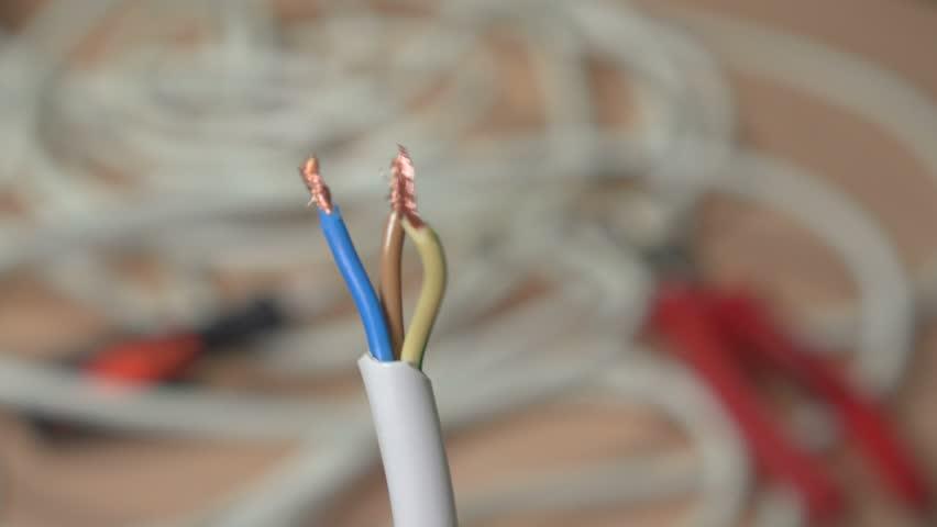 Copper wires close-up. 4k. Three wires