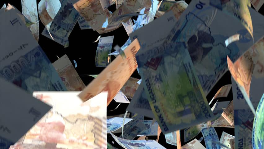 Falling Uganda money banknotes  Video Effect simulates Falling Mixed Uganda money banknotes with alpha channel (transparent background) in 4k resolution  | Shutterstock HD Video #10104764
