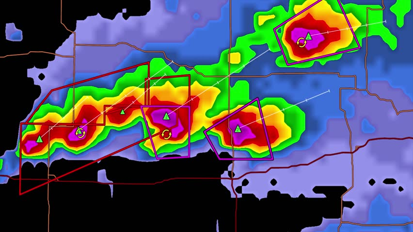 Severe thunderstorms with tornado warnings on Kansas weather radar screen