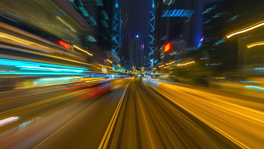 4K.Time lapse Tram at night fast speed at hong kong city | Shutterstock HD Video #1010540519