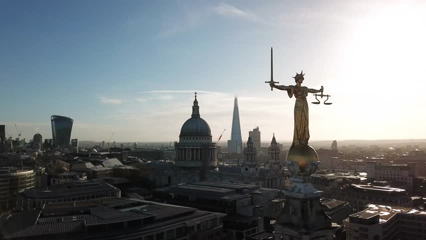 Aerial view London skyline panorama sunshine drone shot | Shutterstock HD Video #1010559959