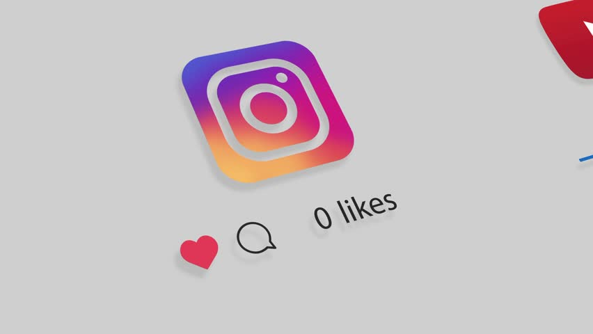 HILTON  KWAZULU-NATAL/SOUTH  AFRICA - APRIL  25  2018: A motion graphic video animation illustrating growing like and share popularity on the Facebook Google+ Instagram Youtube and Twitter social medi