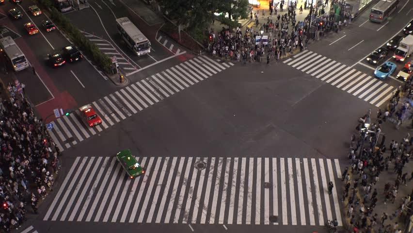 SHIBUYA,  TOKYO,  JAPAN - CIRCA MAY 2018 : Scenery of SHIBUYA around big scramble crossing in summer. #1010565461