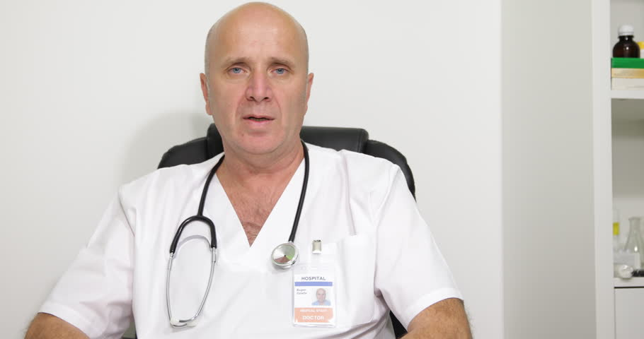 Medical Doctor Man Talking Specialist Report Speech Tv Interview Question Answer ( Ultra High Definition, UltraHD, Ultra HD, UHD, 4K, 2160P, 4096x2160 ) | Shutterstock HD Video #10105895