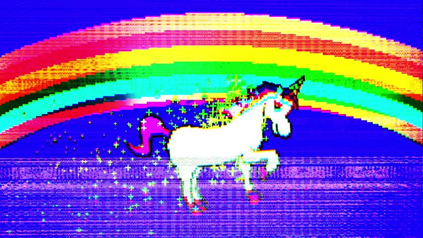 Flickering glitch retro style unicorn pixel art